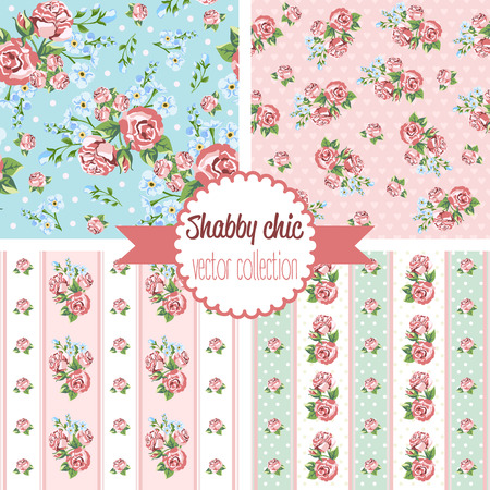 Shabby Chic Rose Patterns. Set seamless pattern. Vintage floral pattern, backgrounds. Vector illustration Vettoriali