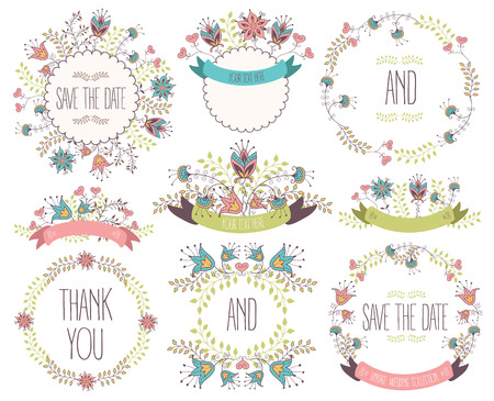 Floral Frame Collection. Wedding set flowers, wreaths, ribbons. Vector illustration Vectores