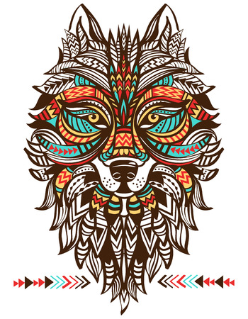 color tribal tattoo: Ethnic totem of a wolf. Indian wolf.  A tattoo of a wolf with an ornament. Hand Drawn vector illustration