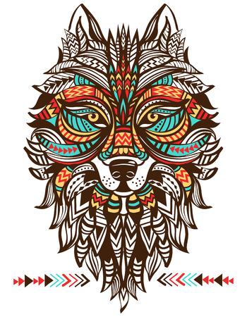 tótem étnica de un lobo. lobo indio. Un tatuaje de un lobo con un ornamento. Mano vector dibujado
