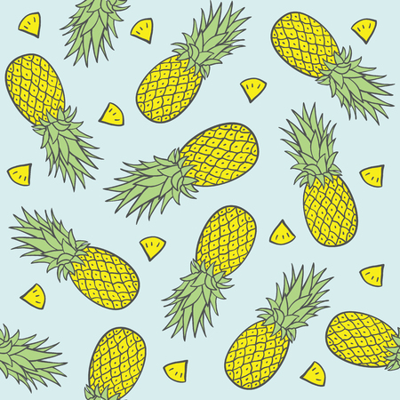 pineapple: Seamless Pattern with Pineapples. Vector illustration