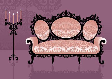 antiquity: Pink sofa in an interior. Vector illustration