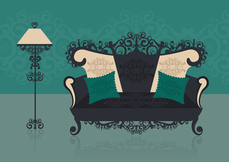 Green sofa in an interior. Vector illustration