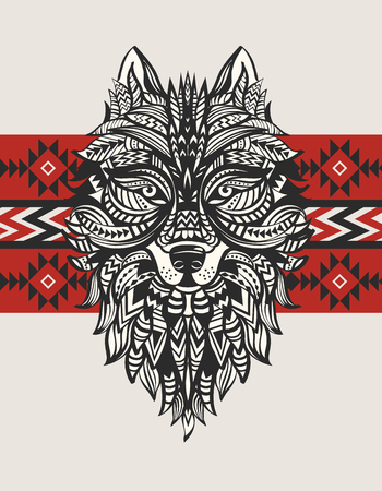 black eyes: Ethnic totem of a wolf. Indian wolf.  A tattoo of a wolf with an ornament. Hand Drawn vector illustration
