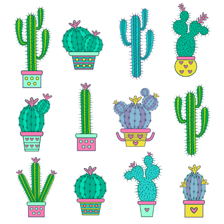 Set  hand drawn  abstract cactuses. Vector illustration Imagens - 53458073