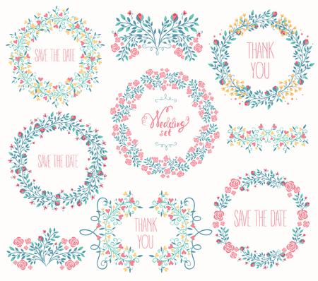 Floral Frame Collection. Wedding set flowers, wreaths. Vector illustration  イラスト・ベクター素材