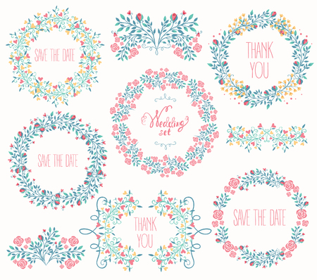 Floral Frame Collection. Wedding set flowers, wreaths. Vector illustration Vettoriali
