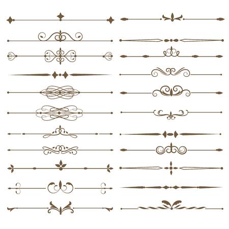 Stel pagina verdelers. Antieke decoratieve elementen. vector illustratie