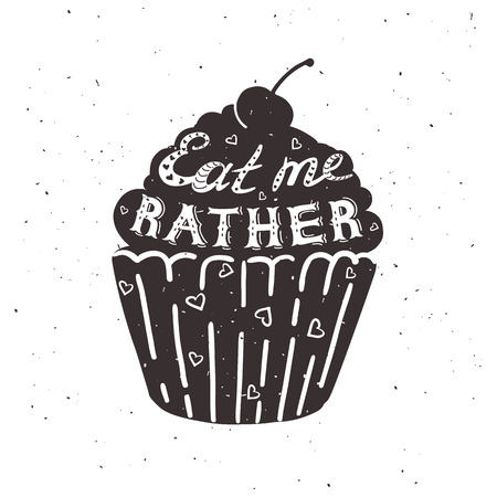 rather: drawing cupcake with text, eat me rather. illustration.