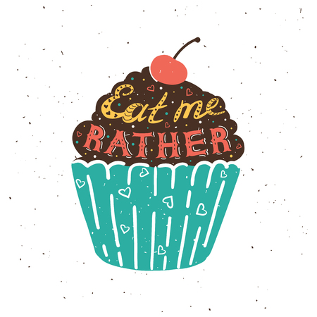 eat me: drawing cupcake with text, eat me rather. illustration.