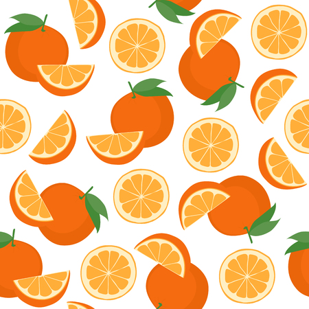 coctel de frutas: Seamless pattern with oranges. Vector illustration