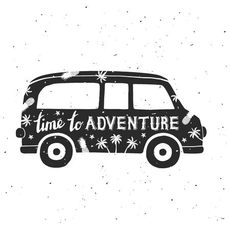 レタリングとビンテージ微型バン。時間の冒険。グリーティング カードや t シャツとして使用できます。ベクトル図