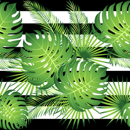 green flowers: Seamless pattern tropical palm leaves. Vector illustration