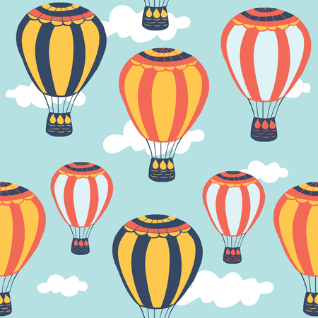 hot: Hot air balloon seamless pattern. Vector illustration