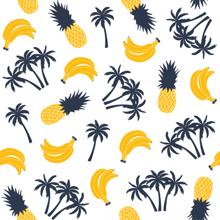 Palm tree with banana and pineapple, seamless pattern. Vector illustration