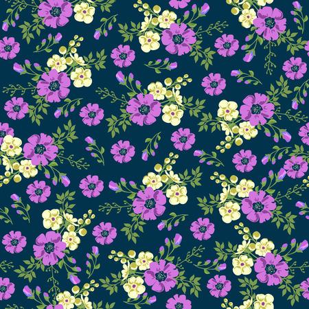 Patrón transparente en pequeña flor. estampado de flores romántico. floral ditsy. Sin patrón floral. Ilustración del vector