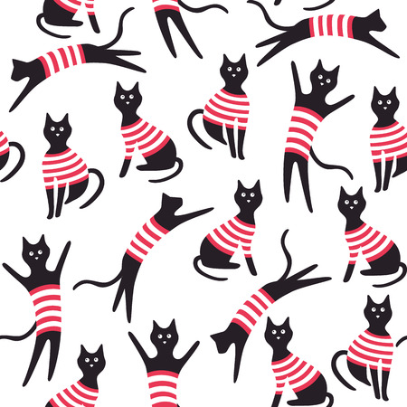 Seamless pattern with cats. Vector illustration