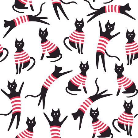 Patrones sin fisuras con los gatos. Ilustración vectorial