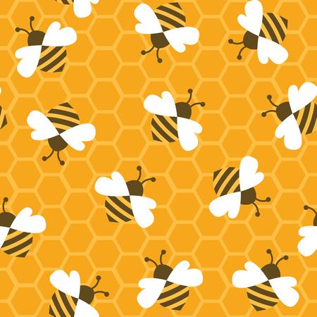 蜂蜜と蜂。シームレス パターン。ベクトルの図。