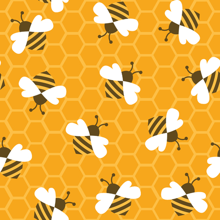 Bee with honey. Seamless pattern. Vector illustration. Vettoriali