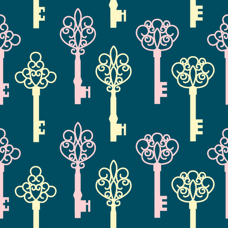 antique keys: Seamless pattern with antique keys. Vector Illustration