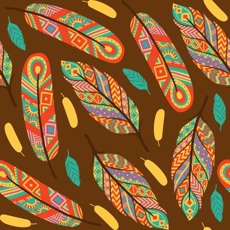 Ethnic feathers seamless pattern vector illustration