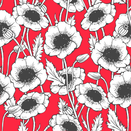 Poppy seamless pattern. Hand drawn vector illustration 矢量图像