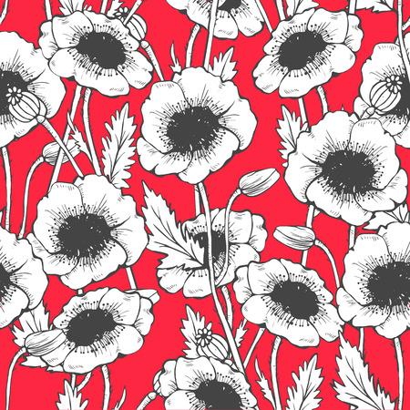 Poppy seamless pattern. Hand drawn vector illustration Illustration