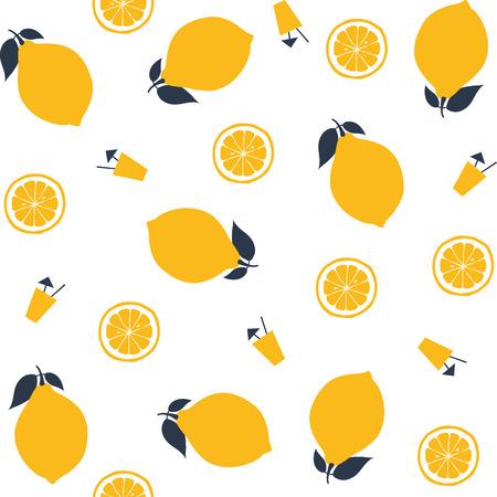 Seamless pattern with lemons. Vector illustration