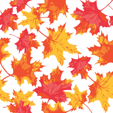 Seamless pattern of watercolor maple leaves. Autumn pattern. Vector Illustration Illustration