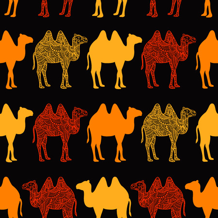 dromedary: Seamless pattern with abstract camel. Vector illustration