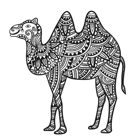 nomad: Decorative camel with an ornament. Vector illustration