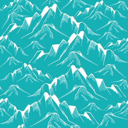 Dibujado a mano patrón de montaña sin fisuras. Modelo del paisaje. ilustración vectorial Foto de archivo - 62048237