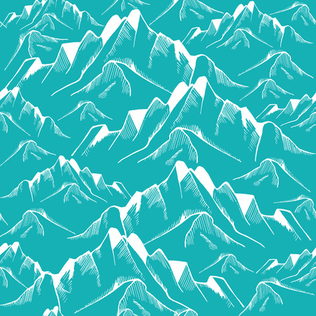Hand drawn mountain seamless pattern. Landscape pattern. Vector illustration Фото со стока - 62048237