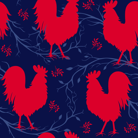 Seamless pattern with red cock. Fire cock. Symbol of 2017. Vector illustration
