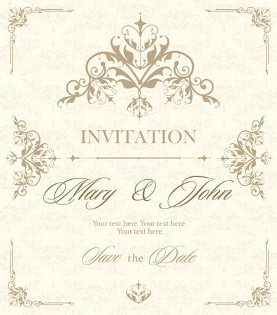 Wedding invitation vintage card with floral and antique decorative elements. illustration Illustration