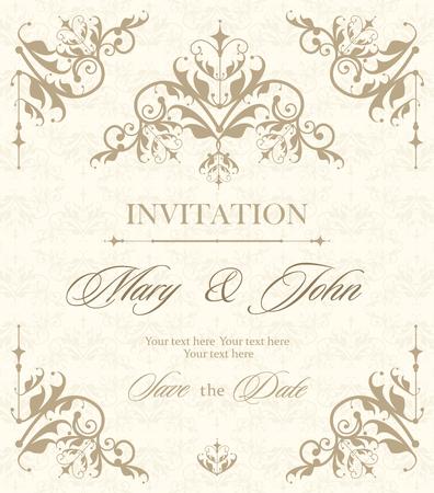 invitation de mariage carte vintage avec des éléments décoratifs floraux et d'antiquités. illustration