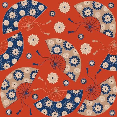 Japans naadloos patroon. Japanse floral achtergrond met Japanse ventilator. illustratie Stock Illustratie