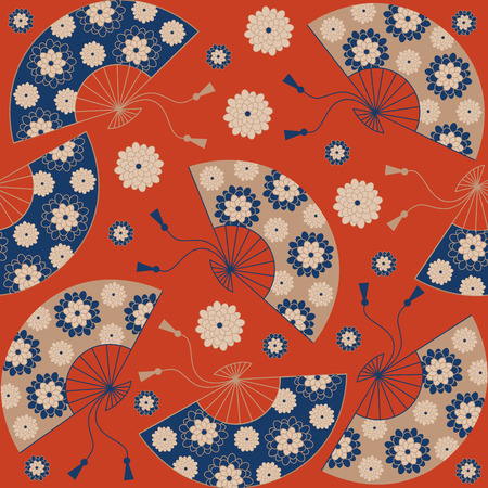Japanese seamless pattern. Japanese floral background with Japanese fan. illustration Vettoriali