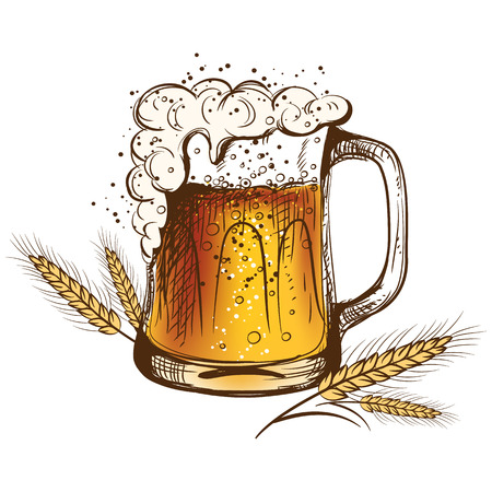 wheat illustration: Light beer isolated on a white background with wheat. illustration Illustration