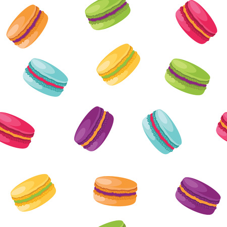 Colorful macaroons seamless pattern isolated on white background. illustration