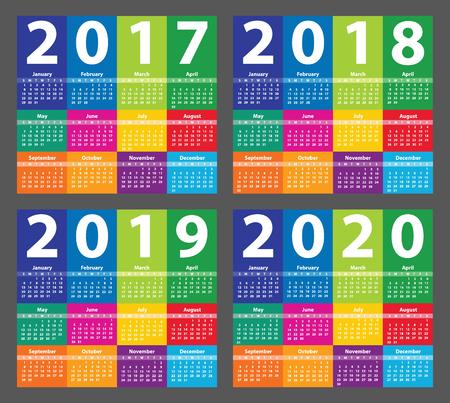일요일부터 시작하는 컬러 캘린더 2017. 삽화 일러스트