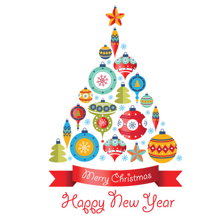 Greeting Card with Christmas balls. Christmas tree. Vector illustration Vectores