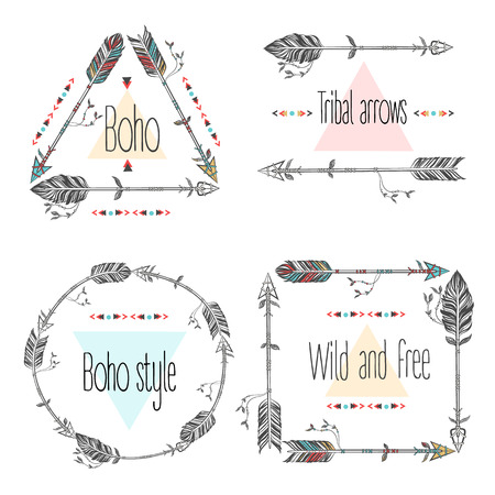 Set of arrows frames, tribal arrows. Ethnic Feathers. Boho Style. Vector Illustration