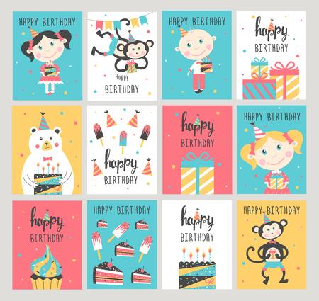 Happy Birthday Card Set Vector Illustration Royalty Free Cliparts