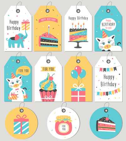 Set of Happy Birthday gift tags and cards. Vector illustration