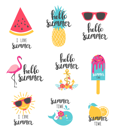 Summer lettering set with holiday elements. Watermelon, pineapple, lemon. Vector illustration. Vettoriali