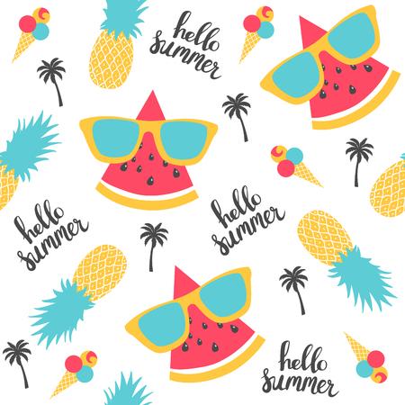 夏のパターン。スイカ、パイナップル。ベクトル図
