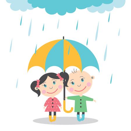 소년과 소녀 우산 아래에서 비에 서 서. 벡터 일러스트 레이션