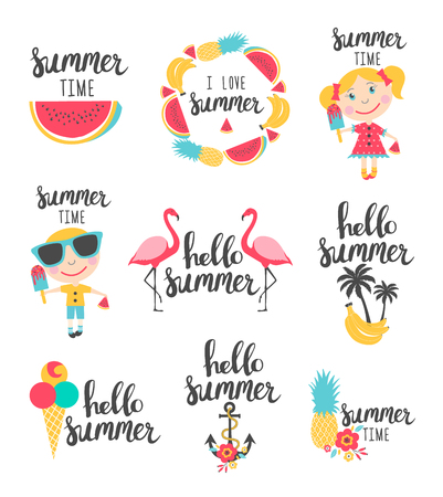 Summer lettering set with holiday elements. Watermelon, pineapple. Vector illustration.